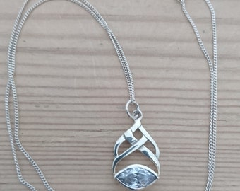 Vintage sterling silver and CZ Celtic style pendant and chain