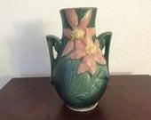 Roseville Clematis Vase, Roseville #108-8 Vase, Green Art Deco Vase