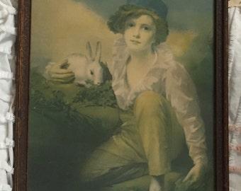 Deaf Boy with Rabbit by Sir Henry Raeburn, Antuque Art Print, Borin of Chicago Print