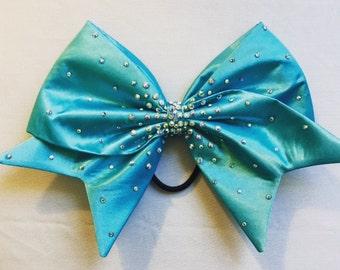 Light blue satin bow with AB crystal rhinestones