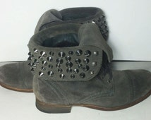 All Saints Suede Stud Gray Military Short Ankle Boots Women's Size 38 Size 7.5 US