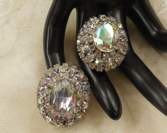 Pretty Vintage  Lorraine Marsel Oval Tiered Clear and AB Rhinestone Earrings