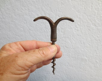 French Antique Mustache Corkscrew Wine Opener, Tire Buchon