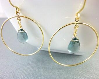 London Blue Quartz Hoop Earrings, Throat, Third Eye Chakras,  Gold-Fill Earrings, Healing Crystals Jewelry, Chakra Jewelry