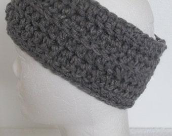 Chunky Headband/Ear Warmer with Rib-Gray Heather