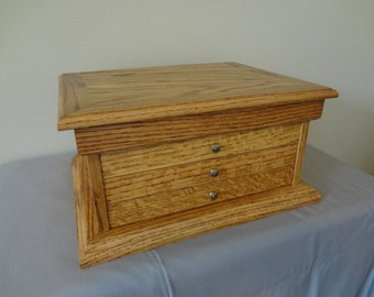 Handcrafted Solid Oak Jewelry Box