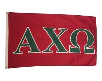 alpha chi omega letter sorority flag