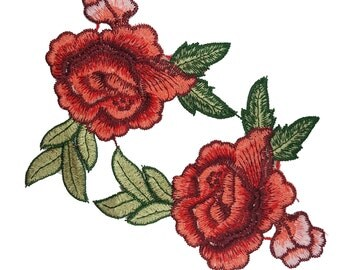 Embroidered  Roses Flowers Sewing Appliques, Red Pink Sew on Flowers 2 pcs