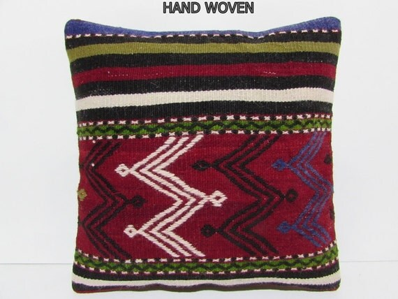Red Southwestern Pillow : 20x20 HAND WOVEN southwestern pillow red ethnic throw pillow