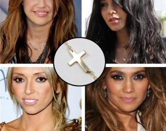 Side Cross Necklace / Celebrity Style / Petite / Dainty / Sterling Silver / 14k Gold Fill / Asymmetrical Necklace