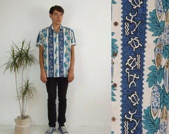 90's vintage men's blue surf Hawaiian printed shirt