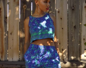 Colorful two piece crop top set