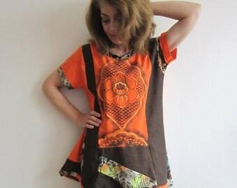 Orange Patchwork Top Painted Tshirt Patchwork Applique Linen Top Tunic Dress Unique Top Colorful Boho Tshirt Recycled
