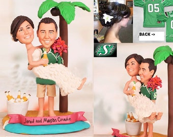 Personalised wedding cake topper - Hawaii island cake topper (Free shipping)