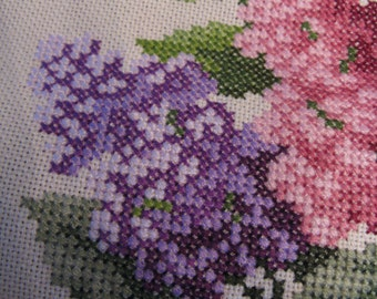 COLORFUL LILAC CROSSTITCH-Fully Stitched-Awaiting Your Blocking and Framing-Cottage Chic-Gardener Gift