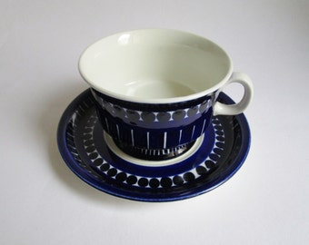ARABIA Finland set of cup and saucer, Ulla Procope, blue white tableware Valencia ceramic