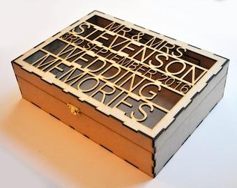 Personalised Wedding Memories Box Laser Cut Wood