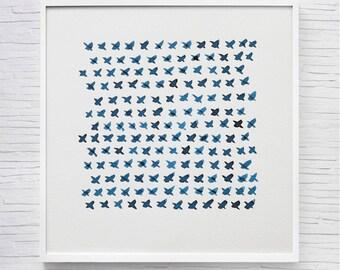 Abstract Art, Contemporary Original Watercolor Painting, Abstract Painting, Fine Art, Geometric Art, Blue, Indigo, Navy Blue, Minimalist Art