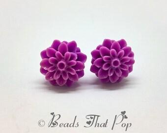 Purple Flower Earrings, Chrysanthemum Stud Earrings, Bright Purple Earrings, Handmade, Neutral Earrings, Great gift for all ages and styles!