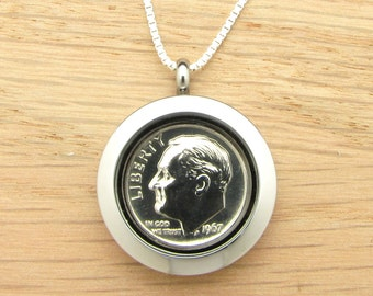 For 50th: 1967 US Dime Locket Necklace 50th Birthday or 50th Anniversary Gift Coin Jewelry