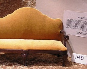 Miniature Sofa, Sonia Messer Queen Anne Handcarved Walnut (140)