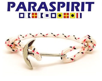 "Paraspirit ""RIGGER"" Adjustable Nautical Rope Bracelet with Silver Rhodium Anchor"