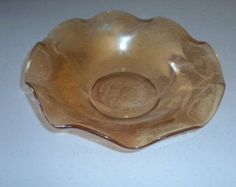 Floragold Amber Iridescent Serving Bowl