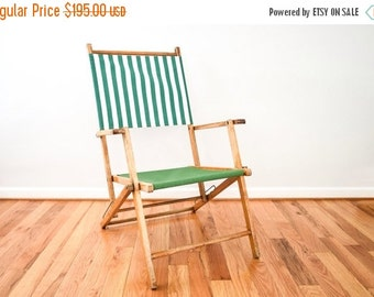 SALE deck chair, outdoor chair, lawn chair, classic reclining deck chair w/ armrests, vintage frame w/ updated green striped canvas, vintage
