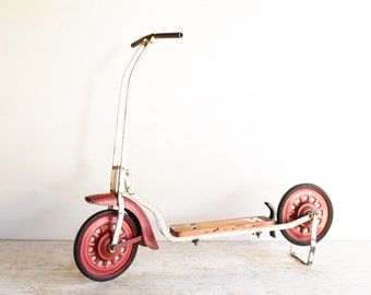 childs scooter, toy scooter, kid's scooter, antique scooter, metal & wood 2 wheel push scooter w/ amazing rustic character, vintage, antique