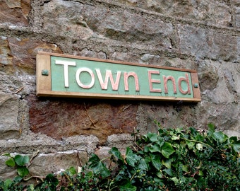"""House Sign Names in Oak and Copper, 3""""/75 mm high in UPPER/ lower case Antigoni on one line,  shipped worldwide o"""