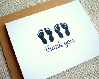 Twins Thank You Cards - Set of 10 Gender Neutral Thank You Notes - Baby Shower Twin Footprints Thank You Cards - Simple Cute Twin Footprints