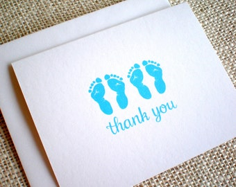 Twins Thank You Cards - Set of 10 Baby Boy Twins Footprints Thank You Notes with Envelopes - Hand Drawn Blue Twins Footprints Baby Boy Cards