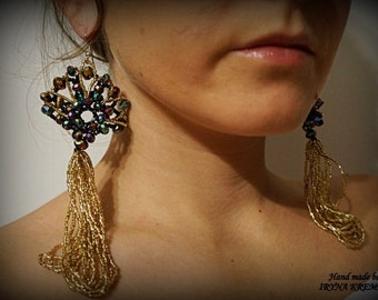 Beade earring with glass crystal