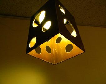 Metal cube hanging pendant light