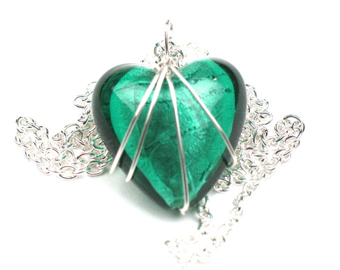 Heart Necklace in Sea Green with Silver Chain and Wire Wrapped Pendant, Anniversary Gift, Girlfriend, Graduation, Best Friend Gift