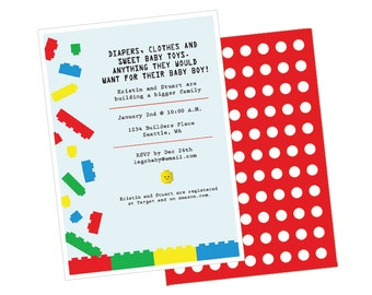 Lego Baby Shower Invite (Digital File)