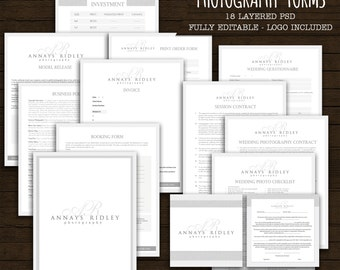 Linen Monogram logo Photography Forms and Contracts -  logo included - INSTANT DOWNLOAD - Monogram initials signature forms