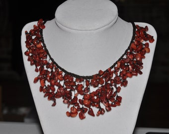 Bib Necklace Red Coral Jasper Chip #722