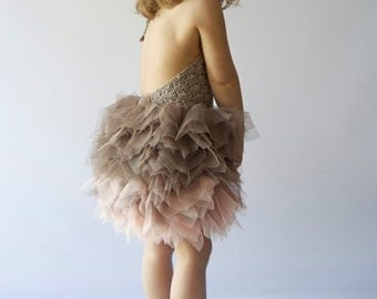 Taupe and Blush Pink Tulle Dress with Halter  Lace Stretch Crochet Bodice. Tutu dress