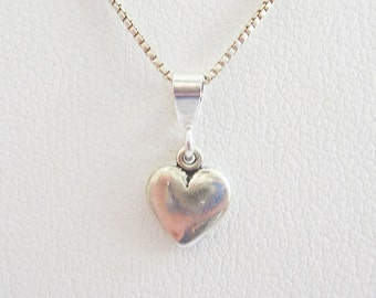 Small Heart Sterling Silver Pendant Charm and Necklace