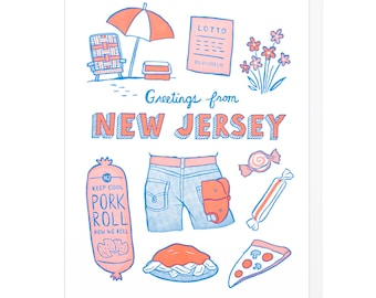 Greetings From New Jersey Letterpress Card