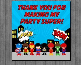 Super Hero Favor Tags