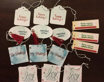 Holiday Gift Tags, Set of 15 Handcrafted Gift Tags, WK146
