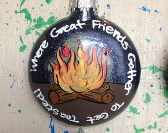 Personalized Where Great Friends Get Toasted Ornament Christmas Campfire Fire Camping Family