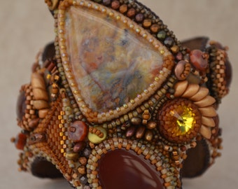 Bead Embroidered Bracelet Cuff, Bead Embroidery Bracelet Cuff, Beaded Bracelet Cuff, Bracelet Cuff, OOAK, Handmade