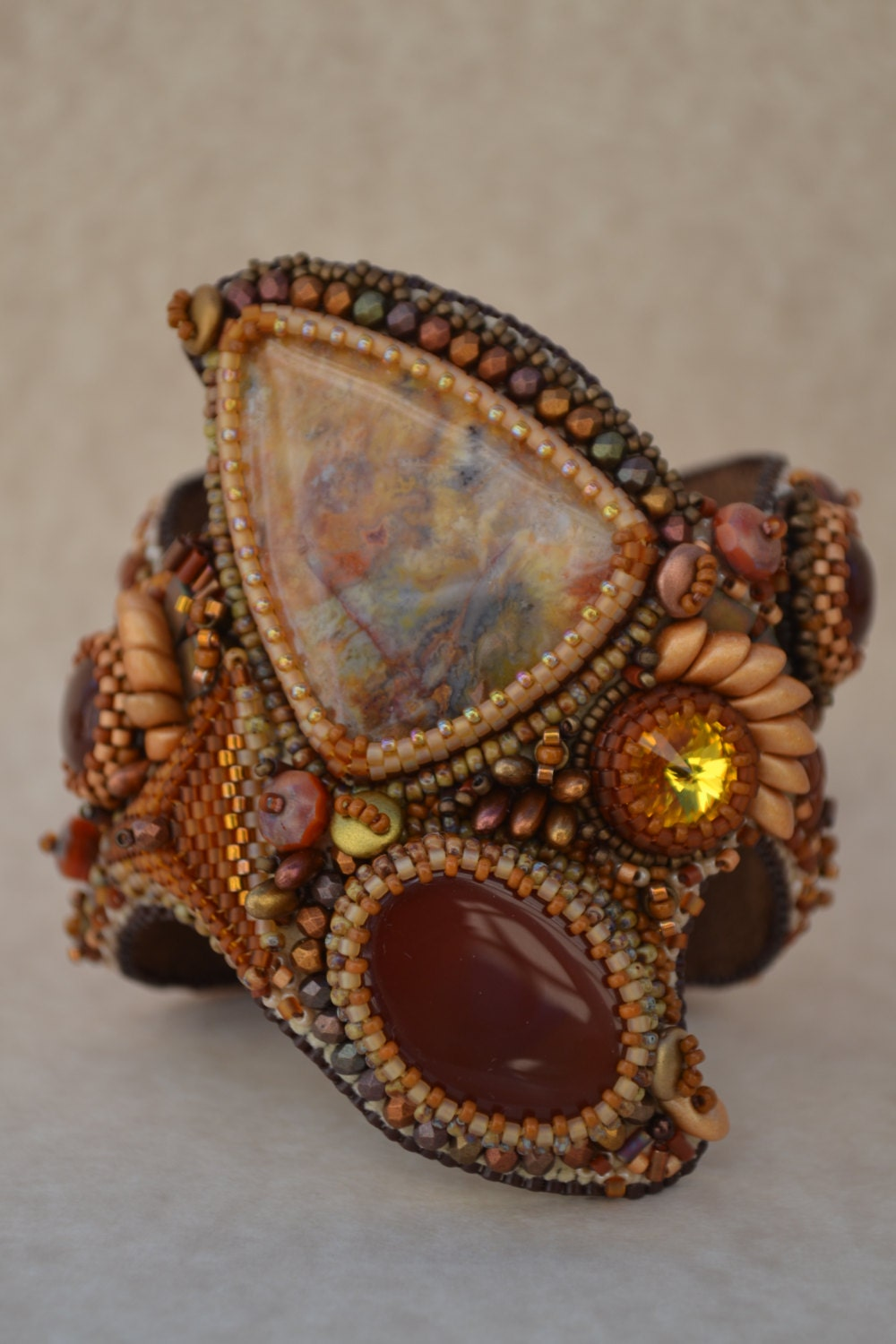 Bead embroidered bracelet cuff embroidery