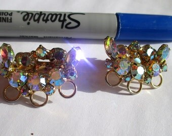 Vintage Continental Jewelry, Vintage Continental AB Earrings, Vintage Swarovski Continental Earrings, Vintage Continental Clip on Earrings,