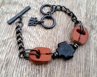 Steel Horse Saddle- Recycled Scrap Leather Larvikite Gemstone Bracelet