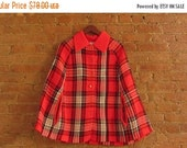 NY Fashion Week Sale 1970s red plaid sweater cape • one size fits most • Thelma