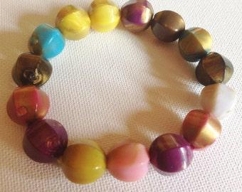 Bracelet  - plastic beads bracelet colourful costume jewllery
